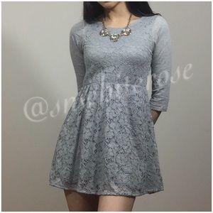 Grey Lace Overlay Dress